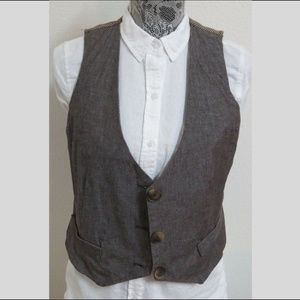 Sz L Brown JUNIORS Cotton Blend #20E Suit Vest